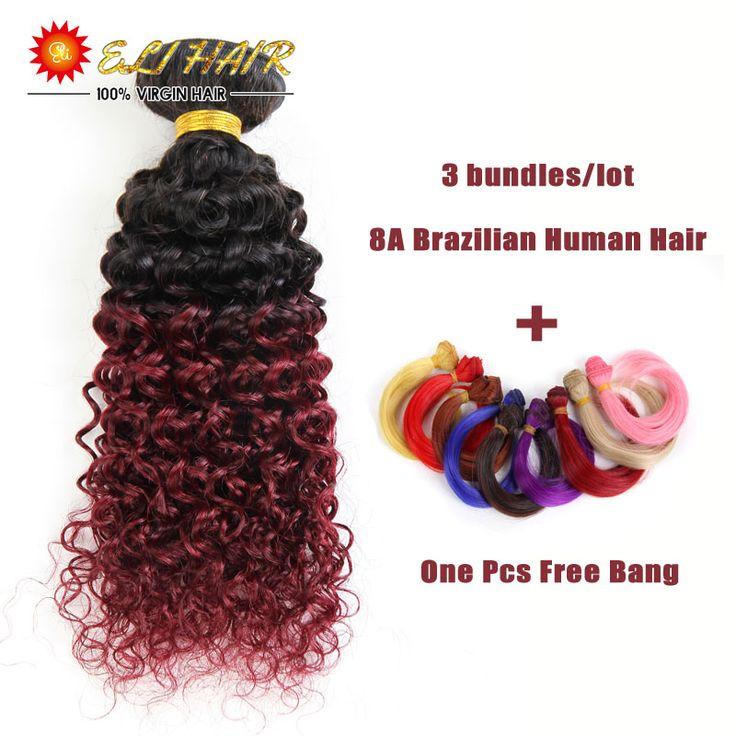 1B/Burgundy Ombre Цвет Ombre Пучки Волос Девы Монгольской Курчавые Волосы Вьющиеся Ткачество Afro Kinky Вьющиеся Волосы, 3 Пучка человеческих Волос