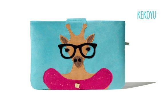 MacBook Sleeve, Lady Giraffe MacBook Cover, MacBook Pro 13, MacBook Air 13, MacBook Pro 15, MacBook 12 Handmade Kekoyu Animals Friends