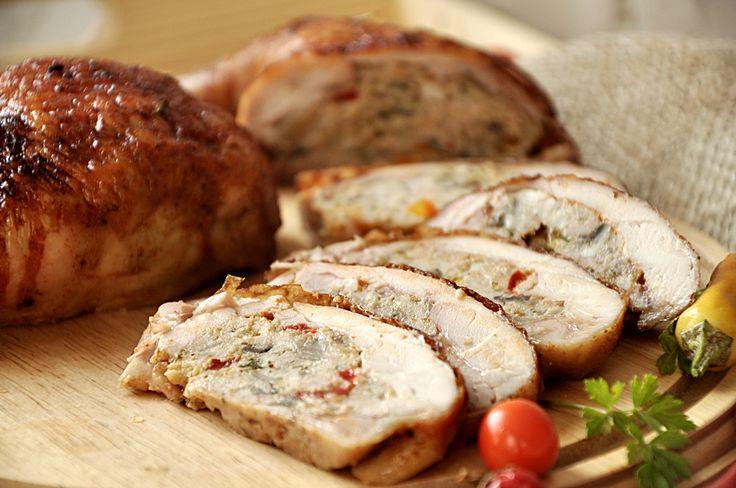 Cuartos de pollo rellenos Ćwiartki kurczaka faszerowane mięsem mielonym i papryką