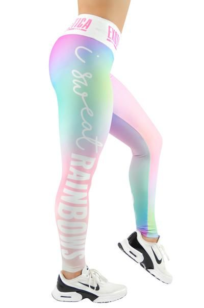 LIMITED Body Contouring Mid Waisted Leggings - I Sweat Rainbows