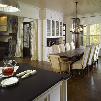 Narrow Dining Room Tables Hardwood Floors Windows Kitchen Island Oven Chandelier Floor To Ceiling Cabinets Drawers Tall Back Chairs Traditional Design Of