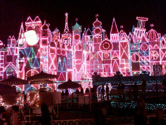 """It's a Small World"" at Disneyland at night during the holidays"