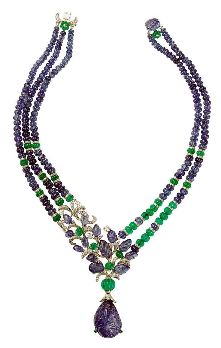 Sapphires, emeralds, and diamonds.