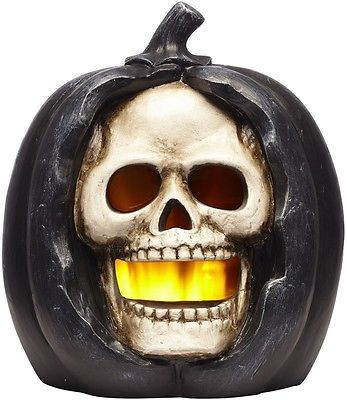 Halloween Freestand Skeleton And Pumpkin Greeter With Constant Orange LED Lights