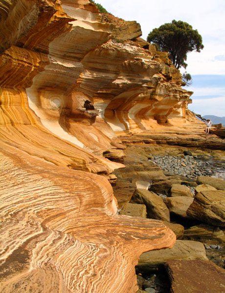 Painted Cliffs of Maria Island National Park - Maria Island, Tasmania, Australia