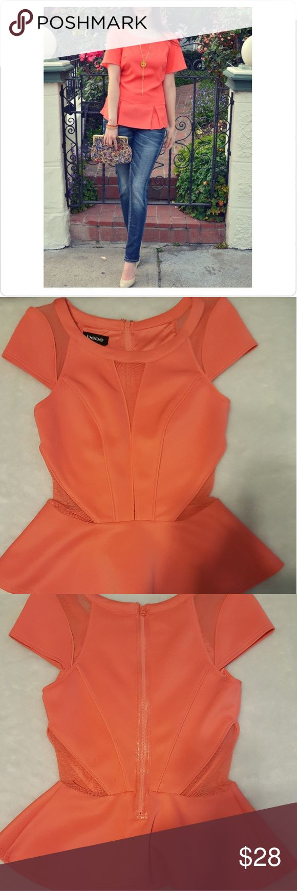 bebe coral peplum bodycon top Perefect top to pair along with jeans and nude heels  Details  *Sz P/S...fits 1/2 inch shorter  *1 small spot directly to right side of mesh right under neckline/easily camaflouged while wearing a statement necklace *Worn 1 time *EUC *Zip up and snap closure bebe Tops Blouses