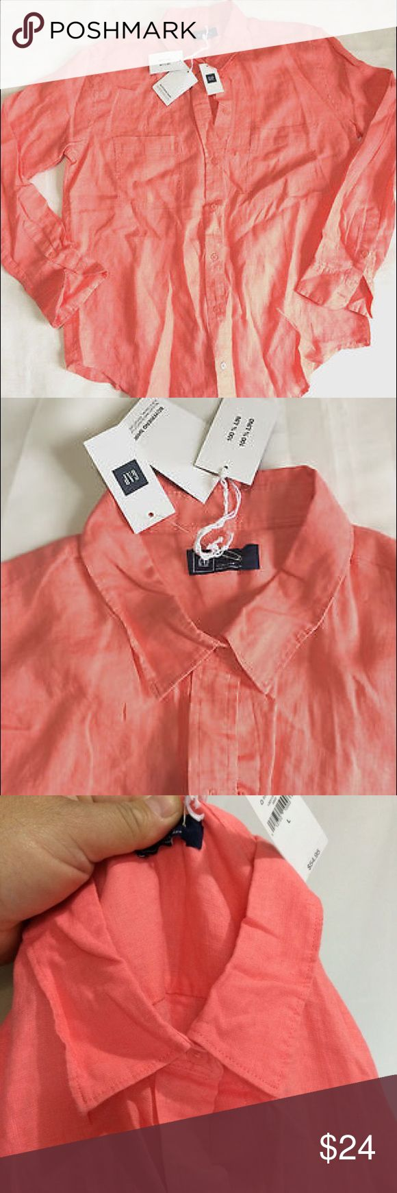 """GAP Linen Boyfriend Shirt Sz L women Salmon Color CODITION:   New without tags   DESCRIPTION:  Only does have the tags what you see in pictures SIZE    L                       Shoulder (Back side):17.5"""" .Bust/Chest Under armpit (around) :42"""" . Waist         ( around):42"""" . Length       (high) BACK SIDE:27"""" . Sleeve:23.5"""" . Neck :16. 1/2"""" NOTE: .5"""" MEAN A HALF INCH = ½"""".   Material: Linen.    *Please check the measurements carefully , some clothes are may not run true the size View measures…"""
