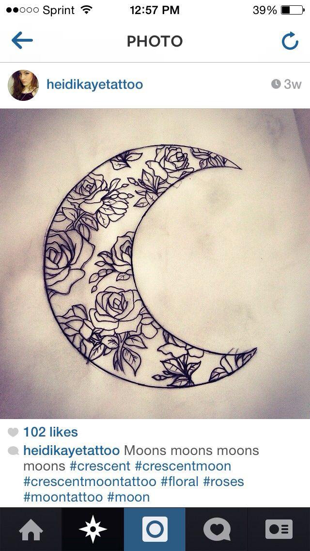 Floral crescent moon | Tattoo Art / Ideas | Pinterest  Floral crescent...