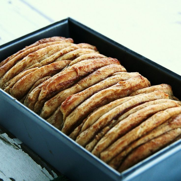 Cinnamon Roll Pull-Apart Loaf by theknead4speed #Bread #Cinnamon