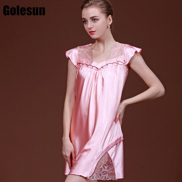 Hot sale verisimilar silk nightdress women summer sexy lace nightgown Women's sleep shirts.
