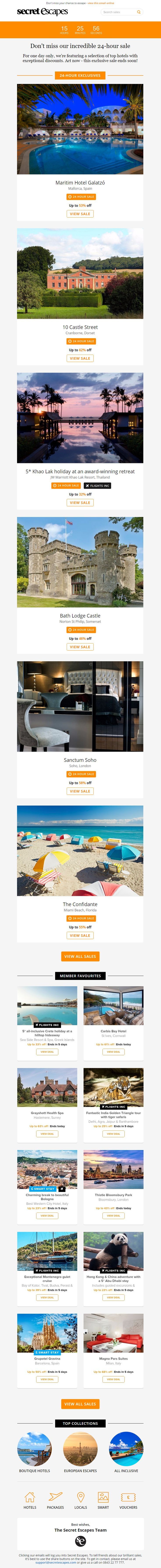 Recommendations email from Secret Escapes with countdown timer to end of sale #EmailMarketing #Email #Marketing #Sale #Recommendations #Travel #Holiday #Countdown #Timer #CountdownTimer