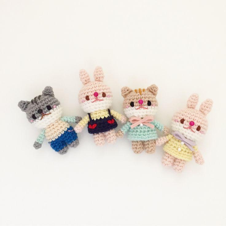 Crochet cat rabbit dolls by isodreams 손뜨개 코바늘 고양이 토끼 인형 by isodreams