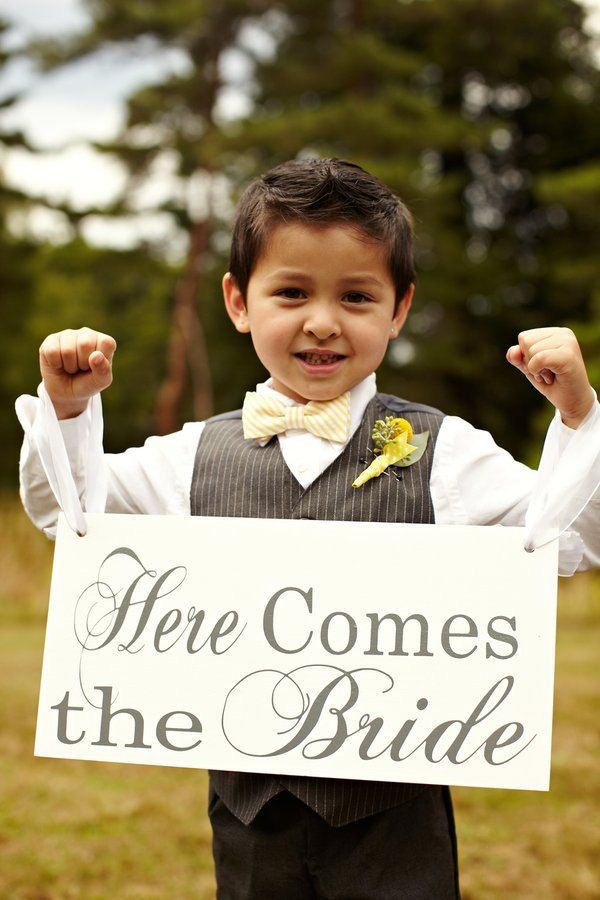 Here Comes the Bride / ...and they lived Happily ever after Wedding Sign. Seen in Style Me Pretty. 8X16 in. Crisp White or Ivory, 2-sided.. $50.95, via Etsy.