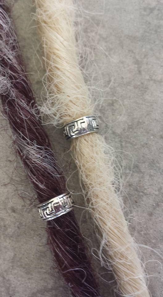 Set of Two Tibetan Silver Celtic Dreadlock Beads or Braid Beads, Dreadlock Cuffs, Braid Jewelry, Celtic Dread Beads, Dreadlock Jewelry by YaYaHippieEmporium on Etsy