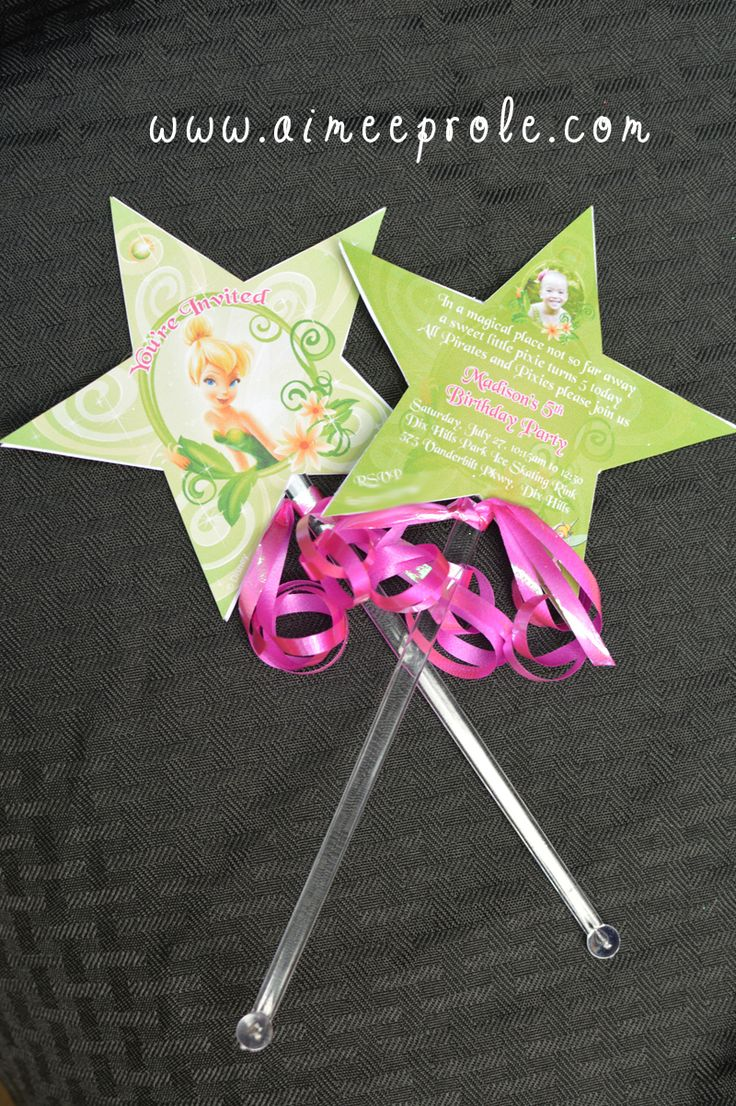 Tinkerbell wand invite my invitations pinterest for Birthday wand