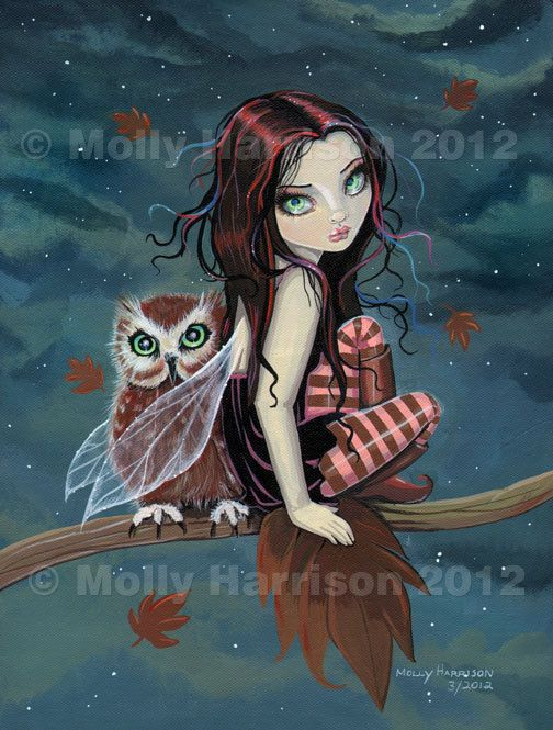 Cute Gothic Fairy and Owl Autumn Fine Art Giclee Print by Molly Harrison 8 x 10 via Etsy