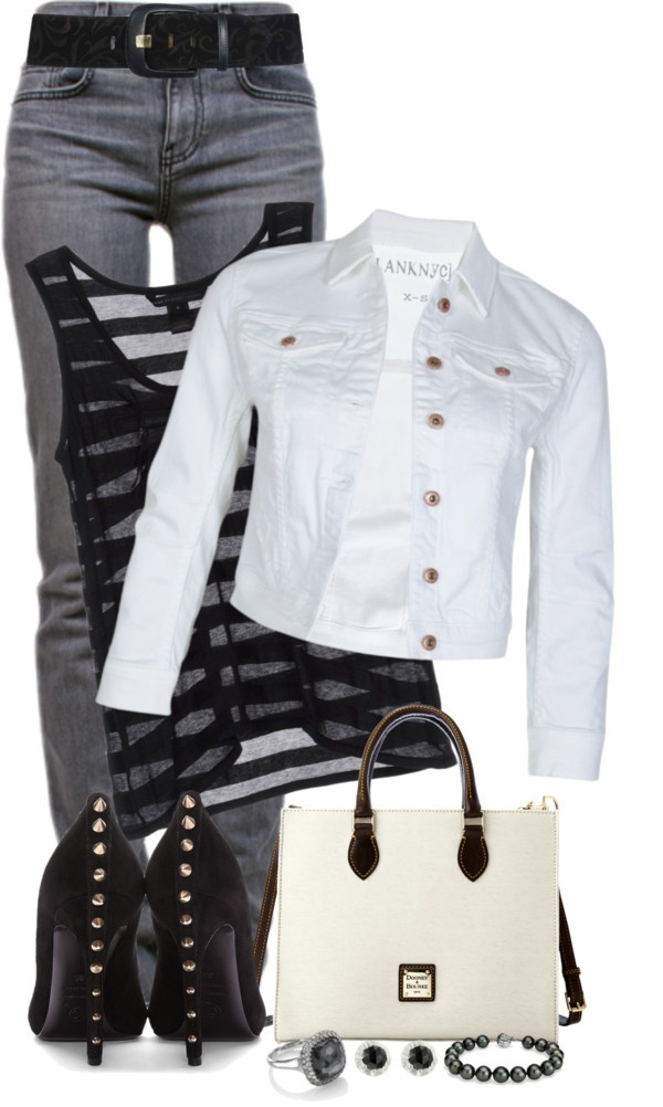 """""""white denim jacket"""" by amand4-nicol3 ❤ liked on Polyvore"""