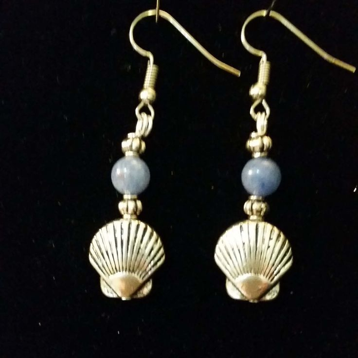 Blue Adventurine and Silver Scallop Earrings / Camino de Santiago / Pilgrim / Beach by SpiritoftheCamino on Etsy