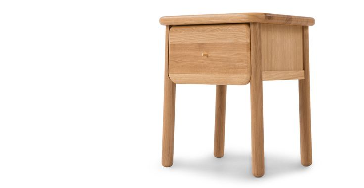 Jonah Small Bedside Table, Oak and Brass | made.com