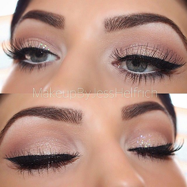 Gorgeous nude glitter eye by Makeup By Jess Helfrich – find her on facebook or i…