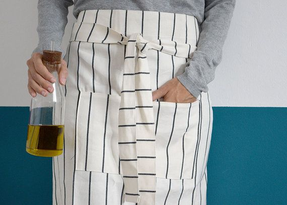 HALF APRON  with POCKETS, White cotton and navy blue stripes, Kitchen Bars and restaurants, Cooks, waiters, gourmets, Work clothes