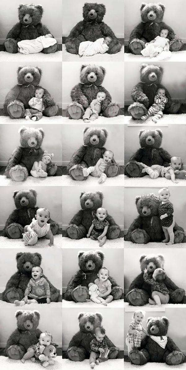 Marking milestones with teddy bear collage | 10 Ways to Document your Baby's 1st Year - Tinyme Blog