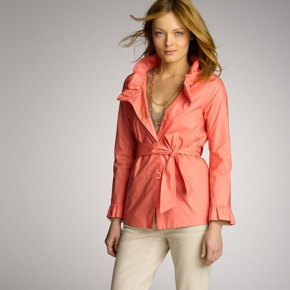 """Frenchie Slicker MY LAST PRICE. PRICE FIRM.J. Crew Frenchie Slicker. Lightweight and lined. Ruffle collar and end of sleeves. Belt loops, but no belt included. Beautiful coral/salmon color. Perfect for warmer months. Size 10, runs large IMO. Bust: 20"""" Waist: 21"""" Length: 26"""". NO TRADES OR PAYPAL. J. Crew Jackets & Coats"""