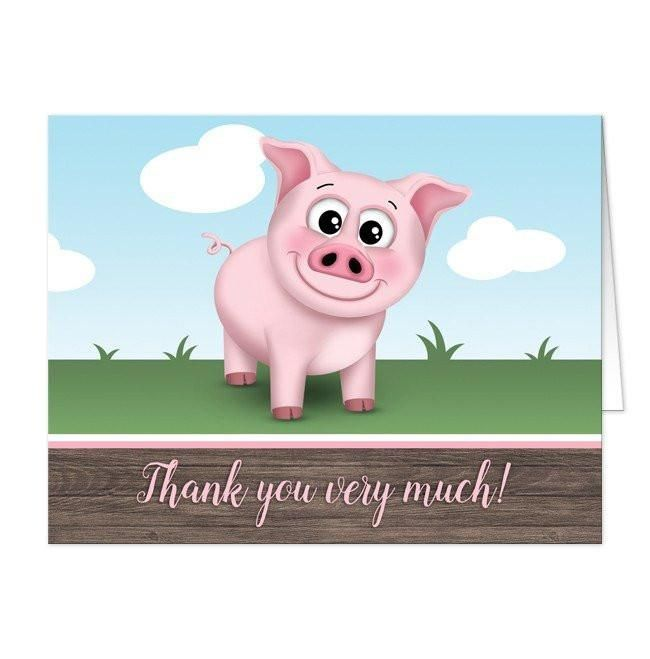 I wanted to share with you these Happy Pink Pig on the Farm Thank You Cards? Do you like them?    Adorable farm themed thank you cards with a smiling happy pink pig. Pig thank you cards that are illustrated with a cute and happy pink pig on the farm. This smiling pig is standing outside on the grass with a blue sky behind it. 'Thank you very much' is printed in a whimsical pink script font to match the happy pig over a brown wood background pattern along the bottom. These cards are perfect…