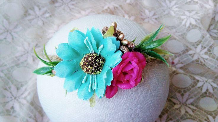 Tropical headband - newborn tieback - flower crown - Tieback - photography prop