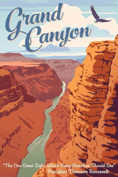 Grand Canyon National Park vintage travel poster by Steve Thomas