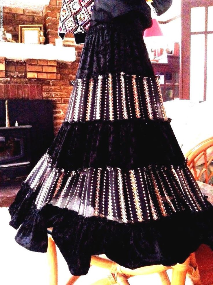 Boho Sz L Skirt L'Diva Black Velvet Gypsy Winter Tiers Lined Elastic Waist    eBay