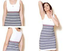 Sexy witte jurk, Sport stijl, Escada dress, Vintage dames kleding, Casual kleding, Slim fit, gestreepte jurk, maat M / 38