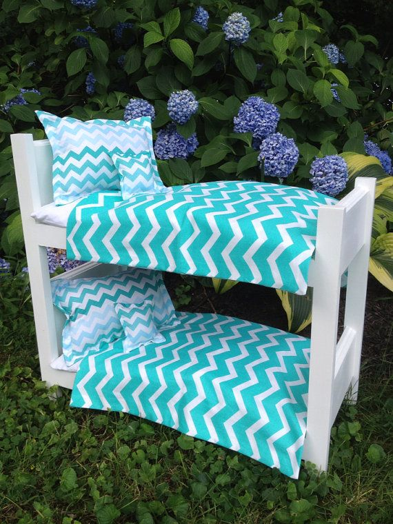 """White wooden BUNK bed with 8 pc bedding set w mattresses Teal Turquoise Aqua Chevron fits american girl dolls, 18"""" dolls"""