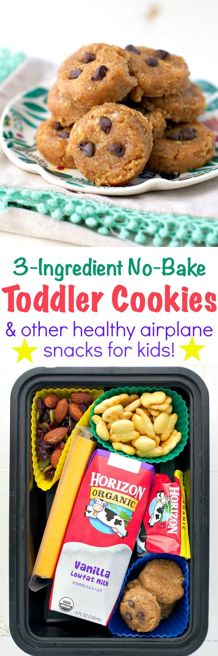 With just graham crackers, banana, and peanut butter, these 3-Ingredient No Bake Toddler Cookies are a perfect make-ahead option for lunch boxes, picnics, and summer travel. Plus, I'm sharing a few more favorite Airplane Snacks for Kids to help keep your family happy and fueled for all of your adventures! #horizonorganic @horizonorganic #ad