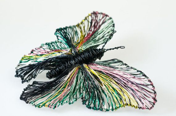 Black butterfly brooch, butterfly jewelry, wire sculpture, insect, large brooch, statement, contemporary, rainbow, Christmas gift women  This is a black butterfly brooch, wire sculpture art statement jewelry. The height of the rainbow butterfly art brooch contemporary jewelry is 8cm (3,15in) and the width (body with wings) is 11cm (4,33in). The pin of the insect is silver. A unique butterfly Christmas gift.
