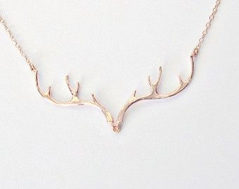 Rose Gold Antler Necklace/ Deer Jewelry/ Rose Gold Necklace/ Country Wedding…