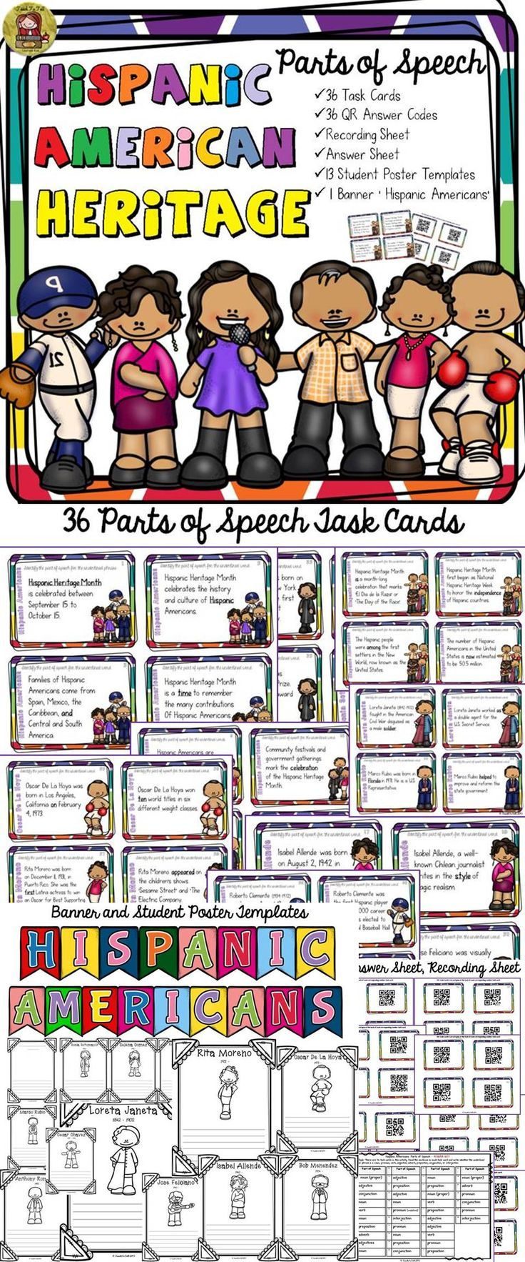 best ideas about hispanic american hispanic hispanic heritage month parts of speech qr codes student posters banner