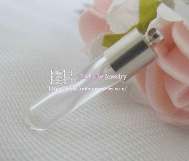 6 * 25 мм песочные часы форма райс виал / стеклянная бутылка + серебро кепка / 50 шт.