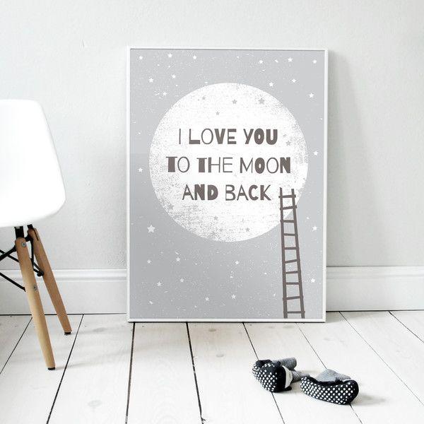 I love you to the moon and back GRAY   Plakat A3 von Milo Studio auf DaWanda.com