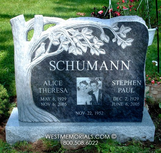 Schumann Custom Design Tree Carving Headstone | West Memorials