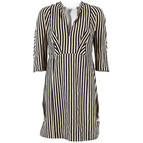 Pre-owned Marni Linen Mini Dress (19115 RSD) ❤ liked on Polyvore featuring dresses, multicolour, women clothing dresses, multi color mini dress, short blue dress, multi-color dresses, linen dresses and short dresses