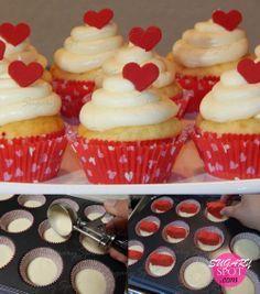 ~Tutorial~ Haz tu mism@ estos lindos cupcakes con corazones escondidos en el centro, con ayuda este tutorial de SugarySpot :)