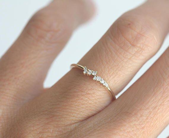 Diamond Ring, 14k Gold Cluster Ring, 18k Gold Wedding Band, Engagement Ring, Tiny Diamond Ring, Minimalist Ring, Dainty Ring, MinimalVS