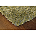 Green and brown shag rug