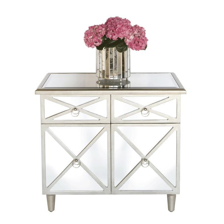 Worlds Away Claude Mirrored Crosshatch Two Drawer Chest with Painted Silver Edge