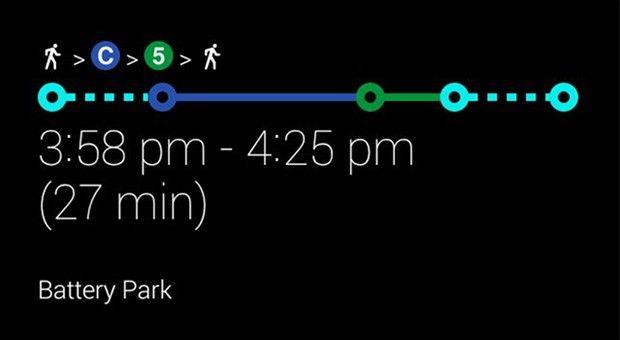 Google Glass mass transit directions UI