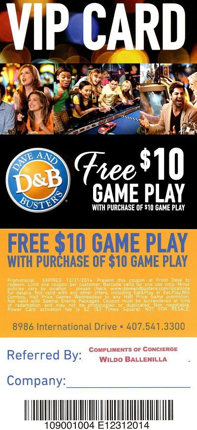 Printable Dave and Busters $10 Coupon http://www.pinterest ...