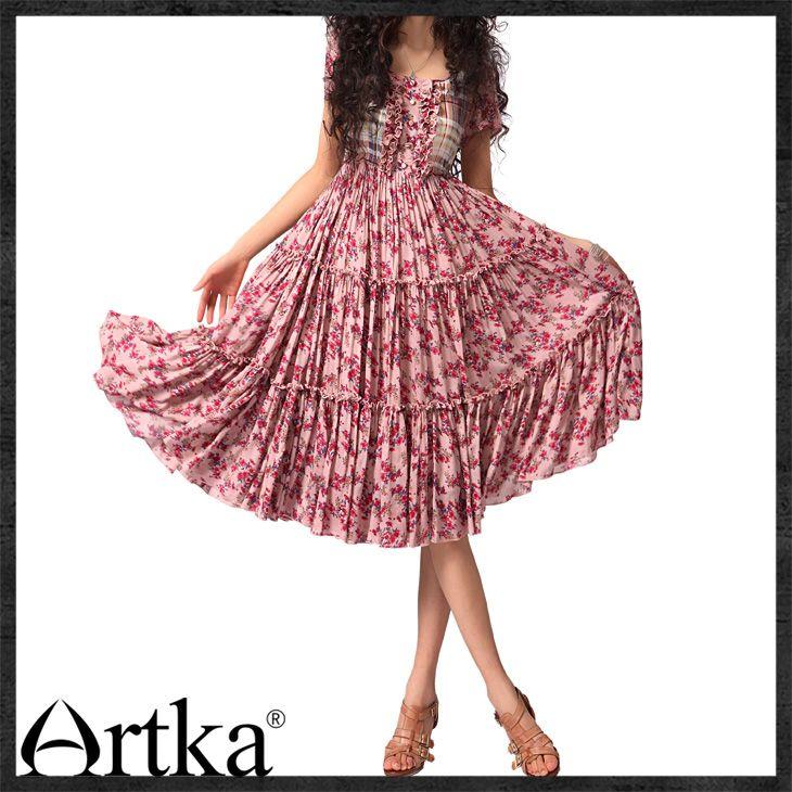 Платья : Розовое платье в деревенском стиле со смешанным узором