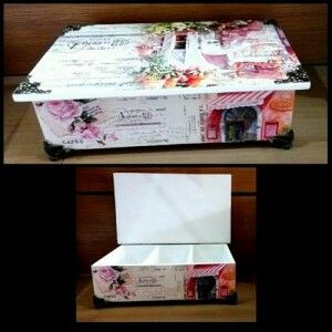 Multifunction box with elegant vintage design ready to decorate your room. Size: 26,5x17,5x10 cm