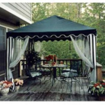 Square Gazebo Canopy With Screens And Pole Skirts ID 8451